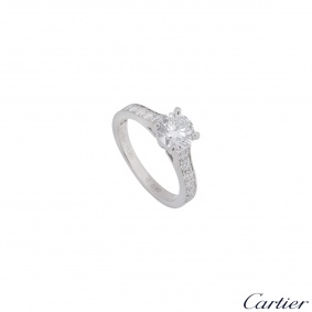 Cartier Platinum Diamond 1895 Solitaire Ring 0.90ct E/VS2